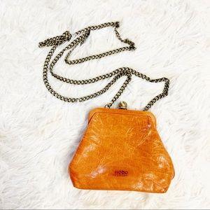 Hobo orange leather mini clutch chain strap